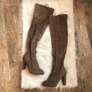 Wild diva over the knee brown faux suede boots 6